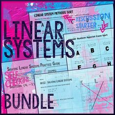 Solving Systems of Linear Equations with Three methods bundle -- Linear Systems Sort, Practice Guide, 3 Short Quizzes, and a Special Case Sort all included in this one package.  Linear System SortAfter students have learned all methods of solving linear systems have them develop their ability to choose the best method for solving given the situation.