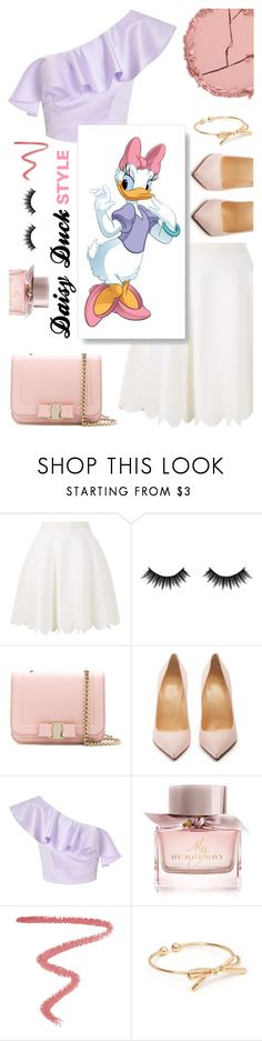 """""""Ms. Daisy"""" by gpatricia ❤ liked on Polyvore featuring Alexander McQueen, Morphe, Salvatore Ferragamo, Christian Louboutin, Miss Selfridge, Burberry, Lipstick Queen and Estelle & Thild"""