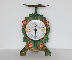 antique scale enamel face german weighing scale by thehopetree