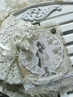 Shabby chic Christmas card, there are a couple of other versions on her blog one being a Santa Claus.