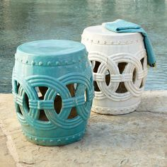 Wisteria - Furniture - Shop by Category - Poufs & Stools -  Indian Rings Stool - Cerulean - $229.00