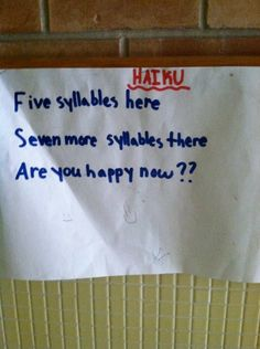 Haiku by a 4th Grader...who just may be a genius.