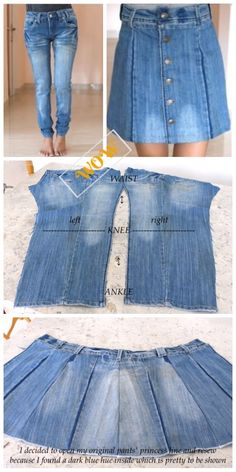 Stylish Ways to Alter Old Jeans into New Fashion- DIY Turn Jean into Button Front Denim Skirt Tutorial