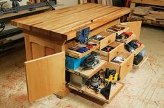 Dream Workbench A modern bench that features storage, stability and mobility By Dave Munkittrick Tired of working on a sheet of plywood thrown over a pair of sawhorses? Had it with rolling benches that wiggle and wobble? Hate running around your shop whenever you need a tool? Boy, do we have the bench for you. Our dream bench starts with traditional workbench features like a thick top, a sturdy base, …