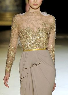 Elie Saab, using lace on chiffon with gorgeous draping.