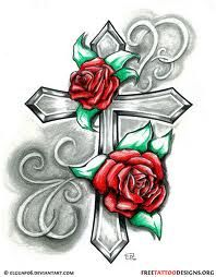cross with rose tattoo designs ideas Cross Tattoo Designs, Flower Tattoo Designs, Cross Designs, Tattoo Sketch, Tattoo Drawings, Rose Tattoos, Body Art Tattoos, Sexy Tattoos, Girl Tattoos