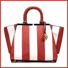 Hue & Ash Stripe Top Handle Satchel