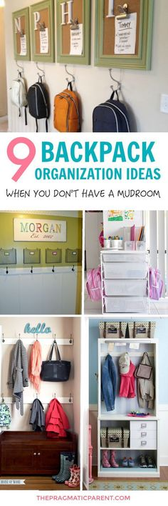 Great ideas for organizing backpacks even if I don't have a mudroom. Love when I can get my house more organized!