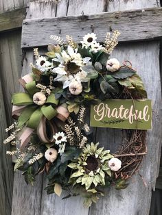 Excited to share this item from my #etsy shop: GratefulSunflower Fall wreath for front door Autumn Pumpkin Floral Grapevine Wreath for Door, Friends wreath for front door, pumpkin wreath,
