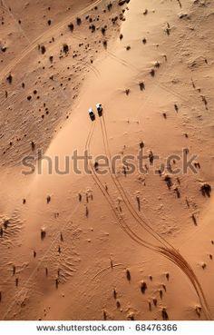 stock photo : Wadi rum desert view from a hot air balloon, Jordan