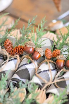 Woodsy woodland acorn napkin rings at a Little Lumberjack Baby Shower Woodsy Baby Showers, Ducky Baby Showers, Forest Baby Showers, Baby Shower Napkins, Baby Shower Parties, Baby Shower Themes, Baby Shower Invitations, Shower Ideas, Baby Shower Winter