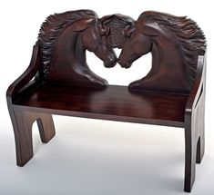 Hand-carved Horse Bench - Item #B00616 - Solid Wood