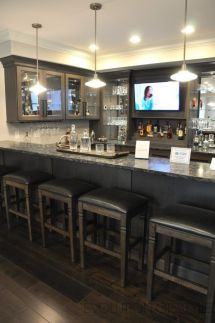 Installing a bar in your home is a great way to make sure that when you have company over everybody has a fun place to spend time together. A dedicated bar Basement Bar Plans, Basement Bar Designs, Modern Basement, Basement Makeover, Basement Kitchen, Basement Bedrooms, Basement Renovations, Home Renovation, Home Remodeling