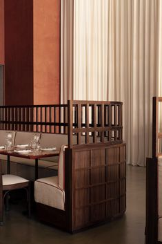 Maison François brasserie takes cues from Ricardo Bofill's architecture Restaurant Booth, Restaurant Seating, Restaurant Design, Restaurant Banquette, Vintage Restaurant, Restaurant Furniture, White Brick Walls, Stucco Walls, Walnut Dining Chairs