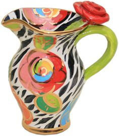 Creamer Jug Gold New Rose Zebra what a find just love this lady's work! artist/ Mary Rose Young