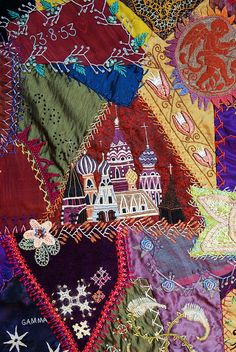 close up, Crazy Quilt embroidery by Robyne Melia