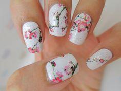 Cherry blossoms nail wrap nails and polish ногти, диза Cherry Blossom Nails, Cherry Blossoms, Gel Nails Shape, Nailart, Popular Nail Art, Pearl Nails, Pink Nail Designs, Nails Design, Japanese Nail Art