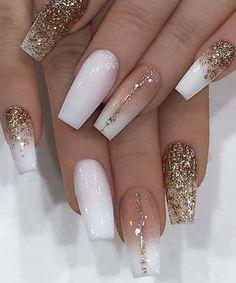 Cute Acrylic Nail Designs, Beautiful Nail Designs, Nail Art Designs, Nails Design, Acrylic Nail Designs Glitter, Crafts Beautiful, Sassy Nails, Cute Nails, Pretty Nails