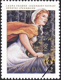 Canadian 42 cent stamp of Laura Secord (Issued: 1992) provided by Library and Archives Canada, © Canada Post Corporation 1992.