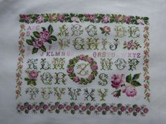 A finished version of my DMC rose sampler - must finish this! Cross Stitch Love, Cross Stitch Samplers, Cross Stitch Designs, Embroidered Roses, Dmc, Yesterday And Today, Le Point, My Favorite Things, Creative
