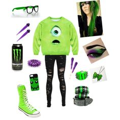 i'd wear this to disney minus the monster can >_> bleh su gross. i think the shirt,pants and maybe low converse would work with green higlights in the hair and a bow.