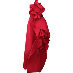 Marchesa Strapless Ruffled Belted Gown ($4,995) ❤ liked on Polyvore featuring dresses, gowns, long dresses, marchesa, vestido, corset dress, red strapless gown, long red evening dress, red evening gowns and strapless gown