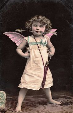 Vintage Postcard - How cute is this little cupid!