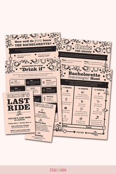It's not a bachelorette weekend without a few fun games to get the party started! We created four classic and fun western-themed bachelorette party activities the entire bride squad will love. Choose from a Bachelorette Party Scavenger Hunt, Drink If Drinking Game, Groom Quiz, Bridal Trivia or purchase the bundle and get one game free! Pair with matching bachelorette party invitations, cups, coozies and shirts from our Bride's Last Ride Bachelorette Party Collection to complete the theme. Bachelorette Party Scavenger Hunt, Bachelorette Party Activities, Bachelorette Party Invitations, Bachelorette Weekend, Fun Games, Party Games, Drinking Games, Get The Party Started, Party Drinks