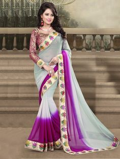 Grey and Purple Georgette Saree with Embroidery Work