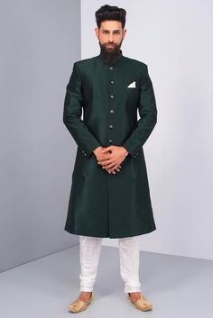 Ekaksh Bottle Green Achkan With White Chudidar