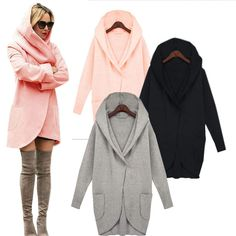 Top Sale $16.99, Buy New Women Winter Coat Warm Cotton Wool Long Fashion Jacket European Outwear Coat Solid Blouse Long Sleeve with Pockets
