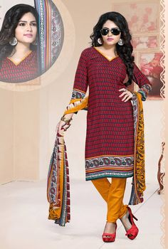 Maroon Crepe Churidar Suit 64114