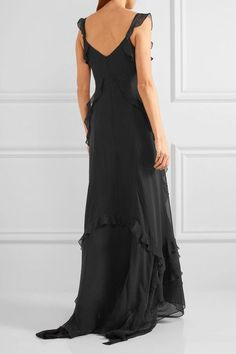Elizabeth and James - Catherine Ruffled Silk-chiffon Gown - Black - US
