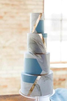 Fresh Ideas And Wedding Trends 2020 ★ wedding ideas modern tall cake marble with blue and gold photographybylauryn