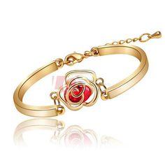 LQ Fine Jewelry Fashion Camellia Flower Bangle Designer 18k Gold Plated Bracelets for Women