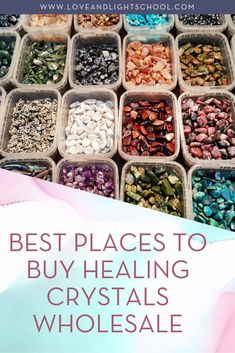 40 Places to Buy Healing Crystals Wholesale - Love & Light School of Crystal Therapy The 19 best places for buying crystals wholesale, as recommended by crystal master Ashley Leavy. Crystal Healing Stones, Healing Crystal Jewelry, Quartz Crystal, Healing Rocks, Healing Heart, Crystal Shop, Crystal Magic, Crystal Gifts, Spiritism