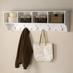 Shop Prepac Furniture White 9-Hook Mounted Coat Rack at Lowes.com