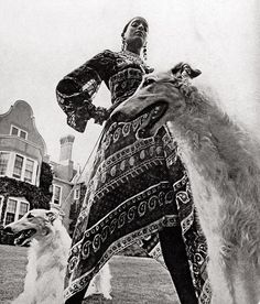 For designer Bill Blass's first advertisement in American Vogue (September 1970), the model Bethann Hardison (now a model agent herself) was guarded by a couple of tightly leashed hounds.
