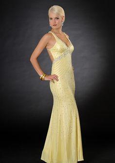 Deep Neckline Backless Straps Beads Working Paillette Floor Length Evening Dress