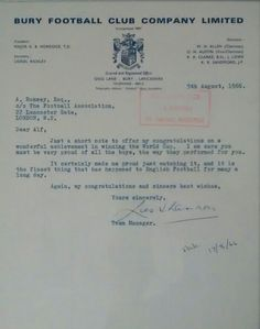Letter from Bury manager Les Shannon to Sir Alf Ramsey congratulating him and the team on winning the 1966 world cup.