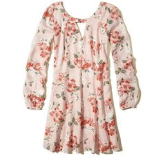 Hollister Cutout Swing Dress (1,020 MXN) ❤ liked on Polyvore featuring dresses, pink floral, flower print dress, trapeze dresses, pink cut out dress, sleeved dresses and pink floral dress
