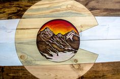 Custom alpen glow Colorado Flag! Follow us on Facebook or instagram! @coloradowoodcraft or check out our website COWoodcraft.com