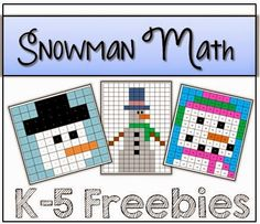 Snowman Math K-5 Freebies - Free mystery pictures (hundreds chart, 120 chart, multiplication, coordinate graphing)
