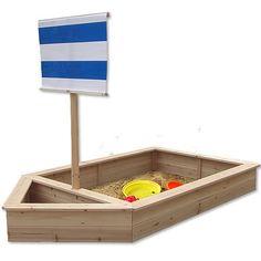 Wooden Pirate Ship Sandbox Kids Childrens Garden Play Boat Sandpit+sail Blue