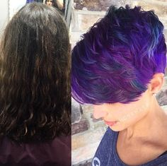 What a transformation! Hailey Mahone Pre-lightened with 30 vol all over for 20 minutes, then toned with #KenraColor SV Rapid Toner for 5 minutes. After drying, she applied #KenraColorCreative Violet from root to ends on the side and back. Throughout the top, she applied Violet on the root to about an inch down the hair, then applied Violet, Blue, and a dot of Blue + 1/2 oz White through the ends. Pulling the Violet and the Blues together to make a colormelt. #PixieCut #HairTransformation