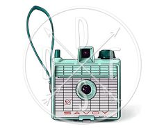 A0054  Savory Camera Retro Vintage Aqua Photo Camera  by DidiFox