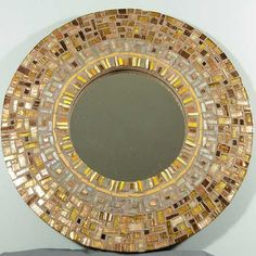 Spice Cake: Round Mosaic Mirror in Amber and Copper by Margaret Almon