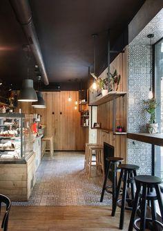 I Feel espresso bar, Kryvyi Rih, 2015 - Azovskiy & Pahomova architects Mehr Bakery Design, Cafe Design, Restaurant Interior Design, Cafe Interior, Tea Restaurant, Coffee Store, Moraira, Coffee Shop Design, Cafe Style
