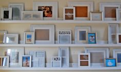 DIY photo ledges from lumber, cost $10 each - do this for the living room!