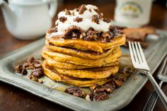 Brown Butter Pumpkin Pancakes with Maple Bourbon Bacon Pecans by Cheese and Chocolate